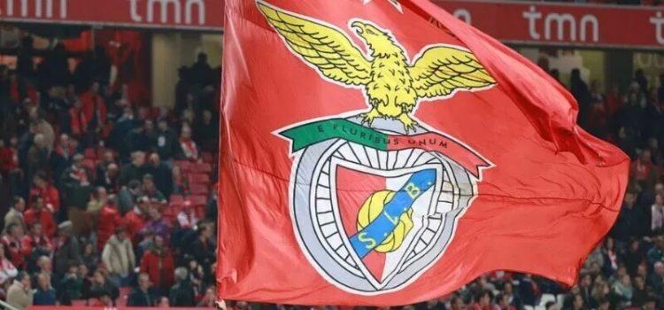 Adeptos do Benfica erguem bandeira do clube